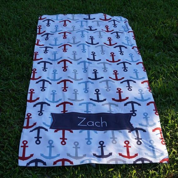 Anchors Away Personalized Beach Towel Kids Towels Custom