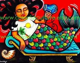 "La Sirena XL - The XL Mermaid - Giclee Print of Original Painting by Karina Gomez - 8.5"" x 11"" Or 11"" x 14"" - Mexican Folk Art"