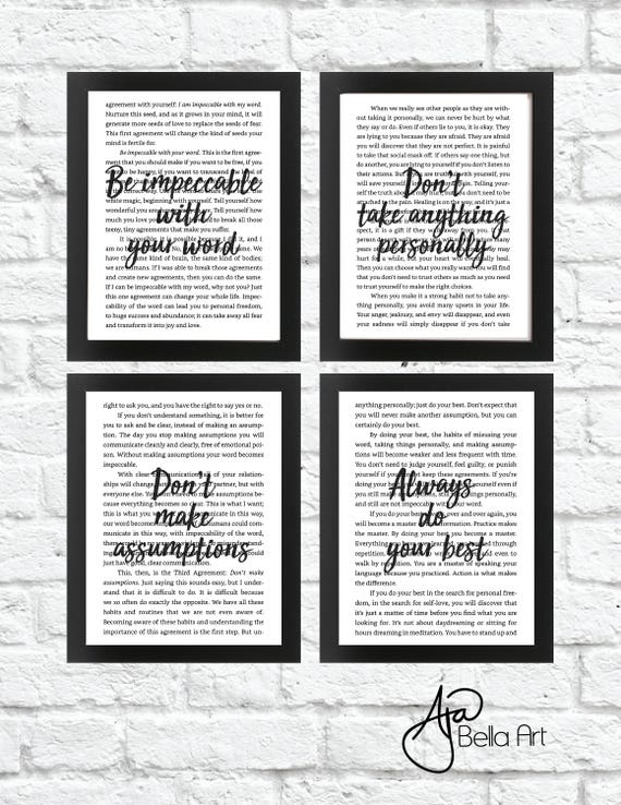 Four Agreements Black White Art Digital Download Etsy