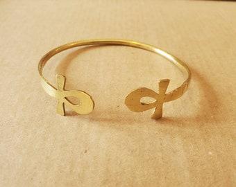 Brass Ankh bracelet.