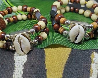 Double Wood Cowry Shell Bracelet