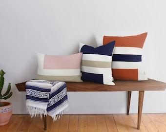 Personalized Geometric Decorative Throw Pillow Case | 12x18 16x16 18x18 20x20 Minimalist Color Block Cushion Cover | Modern Scandinavian