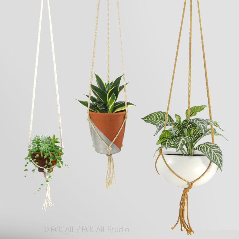Modern Macrame Plant Hanger Diy Hanging Planters White Etsy