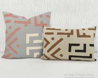 Personalized Kuba cloth throw pillow case | Custom hand printed geometric African Kuba pattern cushion cover lumbar 12x18 16x16 18x18 20x20