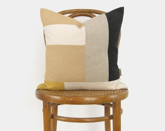 Modern Patchwork Colorblock Throw Pillow Case | 16x16, 18x18, 20x20 Mustard Yellow, Apricot, Gray and Beige Tassel Color Block Cushion Cover
