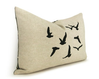 Flock of Birds Decorative Throw Pillow Case | 12x18 or 16x16 Lumbar Black, Beige & Geometric Greek Key Accent Flying Birds Cushion Cover