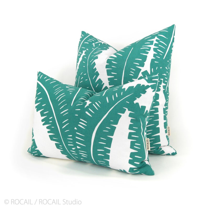 Turquoise and White Tropical Foliage Decorative Throw Pillow image 0