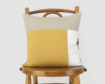 16x16 or 12x18 Color Block Decorative Pillow Case in Mustard Yellow, White, Natural | Geometric Cushion Cover | Modern Minimalist Home Decor