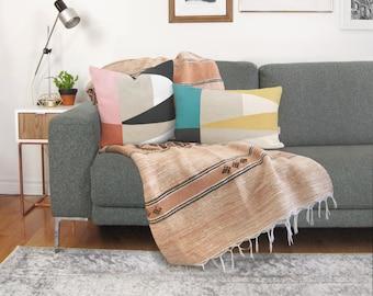 Custom Decorative Color Block Pillow Case   12x18, 16x16, 18x18, 20x20   Personalized Geometric Triangle Colorblock Accent Cushion Cover
