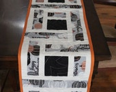 Quilted Table Runner, Halloween Theme, Dining room, Decoration, 12-5 8 quot x 71 quot , Handmade