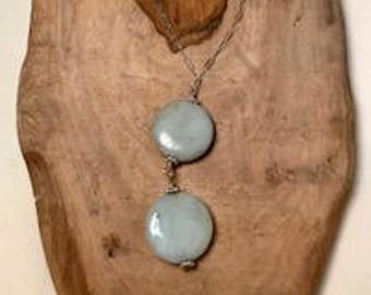 Amazonite gumdrops on sterling silver necklace