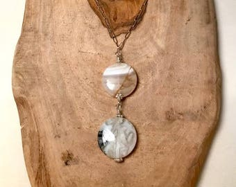 Lace Jasper gumdrops on sterling silver necklace