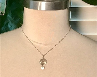 Disks drops on sterling silver necklace