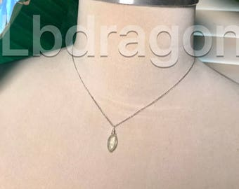 Tiny phehnite tear drops on sterling silver necklace