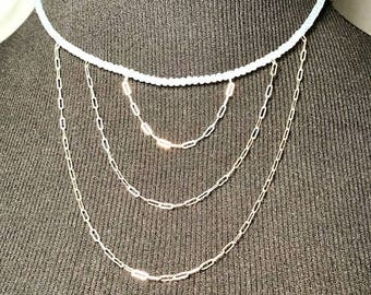 Wedding AB milkglass/ice/light blue and sterling silver necklace