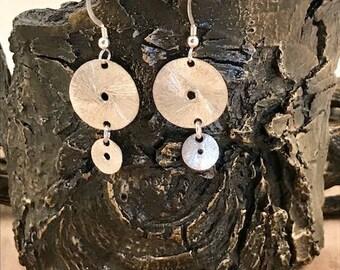 Sterling disks drops on sterling silver earrings