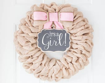 Trending Now   Baby Announcement Sign For Front Door, It's a Girl Baby Wreath, Baby Shower Decorations Girl Gift, Interchangeable