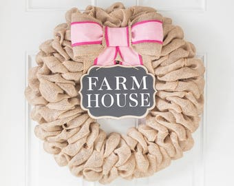 Modern Farmhouse Wreath, Summer Decorations for Spring, Summer Wreaths for Front Door, Mothers Day Gift Ideas