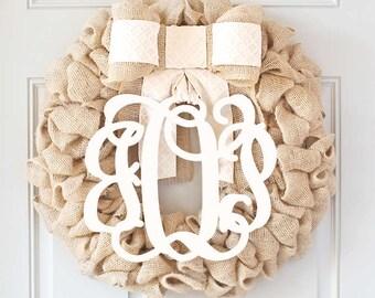Spring Front Door Wreaths, Monogram Wreath, Burlap Wreath with Initial, White Door Wreath, Wedding Gift Idea, Baby Shower Decor