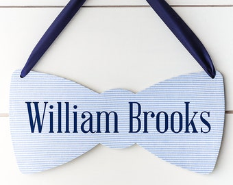 Boy Baby Name Sign for Nursery, Bow Tie Baby Shower Decor, Baby Gender Reveal, Hospital Door Hanger, Baby Announcement, *Pinterest*