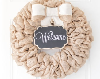 Cute Summer Wreaths For Front Door, Outdoor Summer Decorations, Burlap Wreath, Pretty Wreaths for New Home