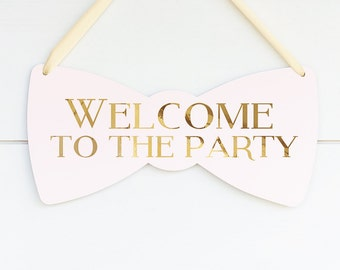 Pink and Gold Party Decorations, Welcome Sign for Baby Shower, Blush Pink and Gold Bridal Shower Decorations, Bachelorette Party Gift