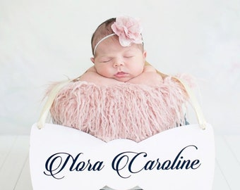 Custom Baby Girl Announcement Sign, Baby Name Sign, Bow Baby Shower Decor, Baby Gender Reveal, Hospital Door Hanger