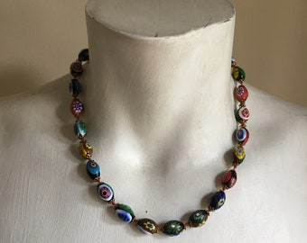 1920s Colorful Glass Beaded Necklace • Short Choker Necklace