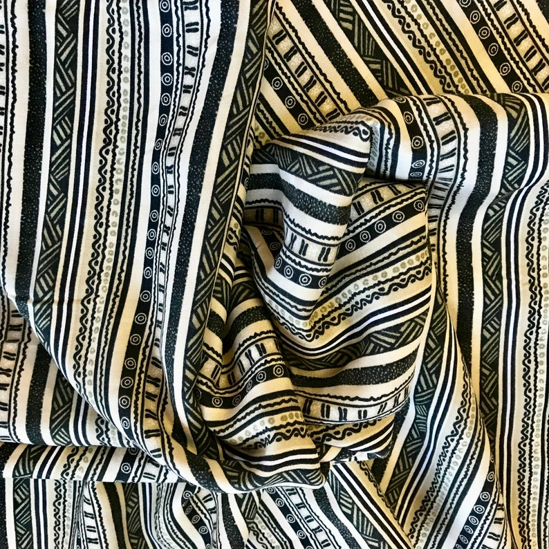 FABRIC YARD GOODS Sewing Material Rayon Black Tan White Stripes Two Pieces