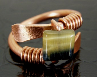 Sale Clearanc - Natural Cats Eye Stone Copper Wire Ring