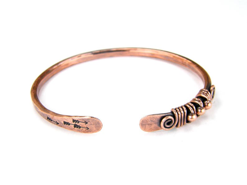 Copper Patina Wire Bracelet Wire Wrapped Bangle With Arrows Made To Order Gifts For Her Womens BOHO Copper Bracelet