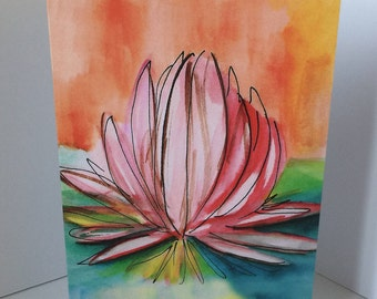 Lily blossom Tranquility Blank Greeting Card
