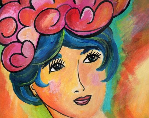 She Wore Her Brain Like A Fabulous Hat 8x10 Art Print