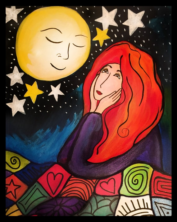 Girl Gazing at the Moon 8x10 Art Print