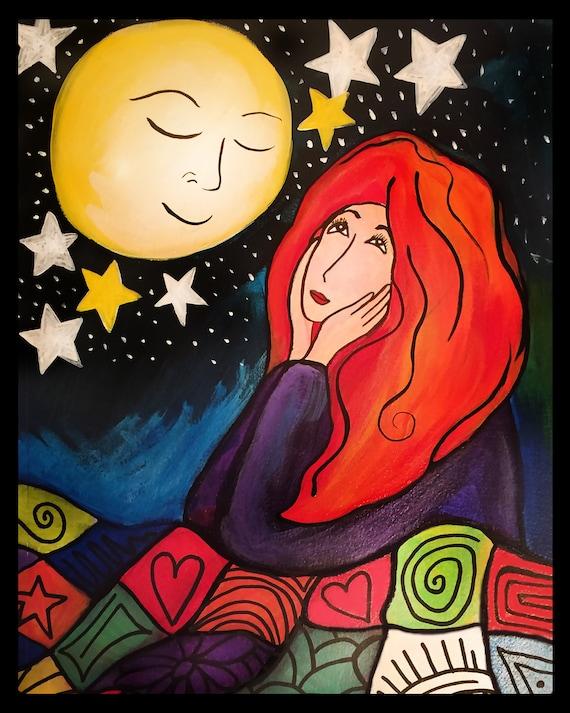 Girl Gazing at the Moon 8x10 Art Print