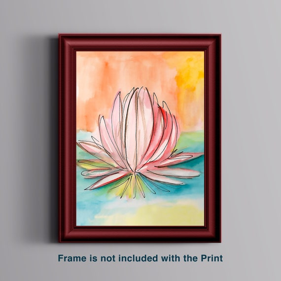 Lily Pad Watercolor Tranquility 8x10 Art Print