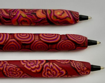 Set of 3 Pens with Red Swirls