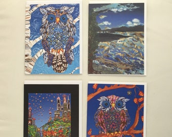 Greeting Cards: Owls & Landscapes, Set of 4 Different Blank Cards