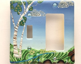 Summer Birches Double Combo Plate