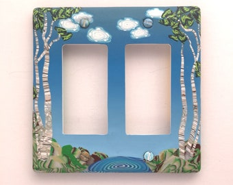 Northern Birches Polymer Clay Double GFI/Slider/Rocker Switch Plate