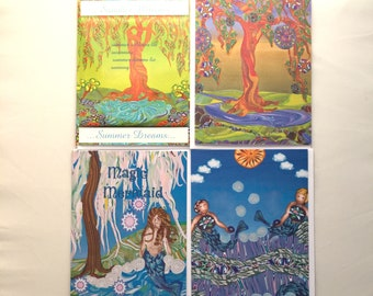 Greeting Cards: Water, Healing & Mirth- set of 4 Different Blank