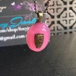 Pink Owl Pendant- Glow in the Dark Pendant - Tiny Brass Owl - Pink Glow in the Dark Jewelry