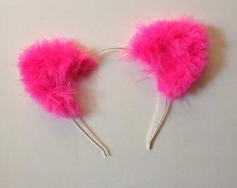 Hot Pink Fuzzy Cat Ears