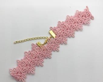 Light Pink Lace Trim Choker