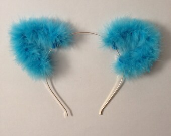 Aqua Blue Fuzzy Cat Ear Headband