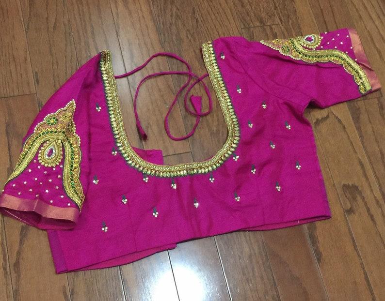 d134ab12babab Pink Designer Maggam Work blouse...