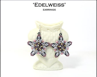 Bead patetrn beade earrings Edelweiss made with seed beads, delica beads, fire polish, O beads, Swarovski chatons, Irisduo beads