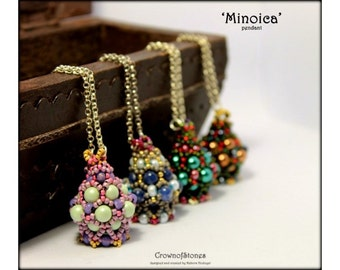 SPECIAL OFFER Bead pattern tutorial PDF 'Minoica' pendant  with Swarovski and seed beads