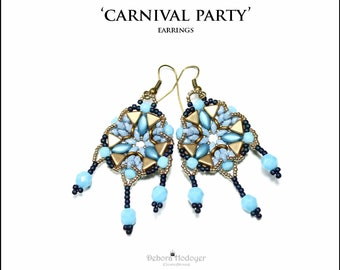 Bead pattern beaded earrings Carnival party made with seed beads, Miniduos, Kheops par Puca beads, Irisduo, O beads, fire polsihed