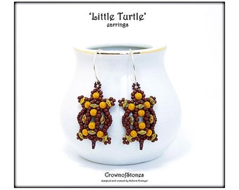 Bead pattern PDF Little Turtle earrings with Superduo Beads SPECIAL OFFER
